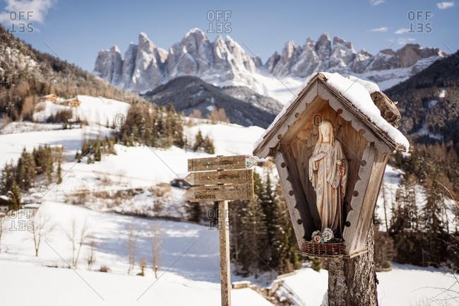 Villnostal, Odle, South Tyrol, Madonna, Santa Magdalena