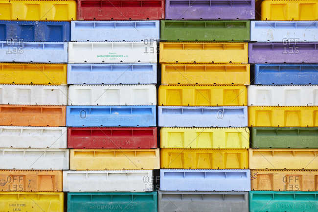 March 30, 2019: Germany, Mecklenburg-West Pomerania, Ruegen, fish boxes, colorful, stacked