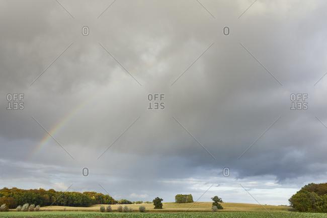 Germany, Mecklenburg-West Pomerania, landscape, rainbow