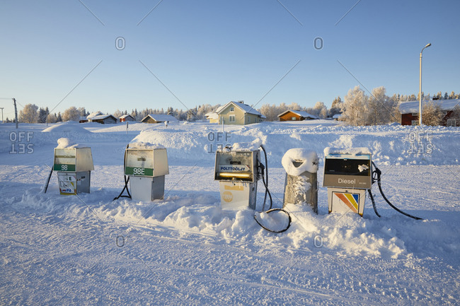 February 14, 2020: Finland, Lapland, Raattama, gas station, winter