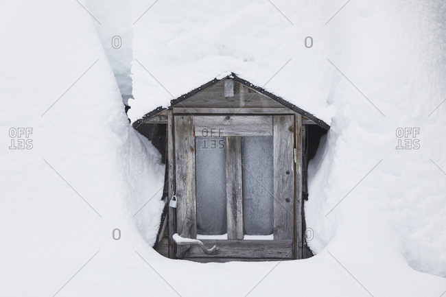 Finland, Lapland, Kota, door, winter
