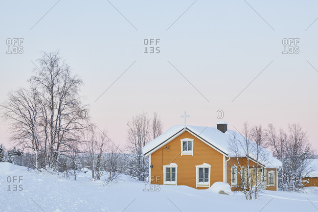 Finland, Lapland, Raattama, church, winter