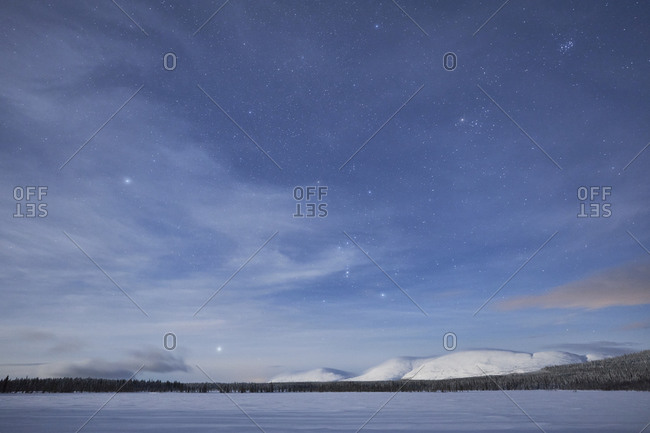 Finland, Lapland, Pallastunturi, landscape, mountains, night