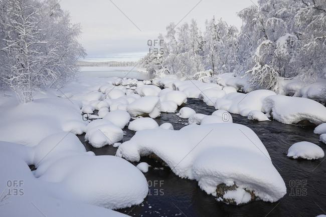 Finland, Lapland, winter, landscape, river