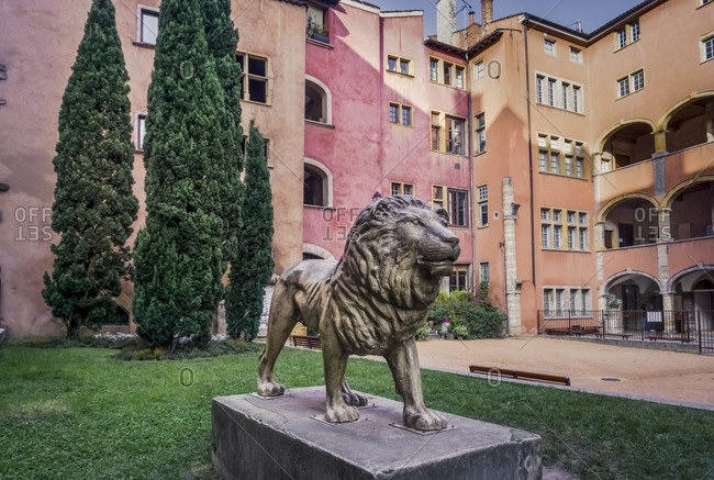 December 6, 2019: Historic lion sculpture in Lyon, France