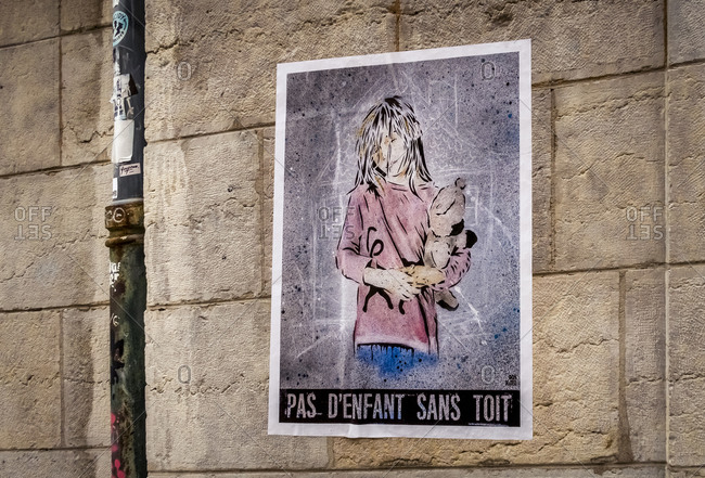 December 7, 2019: Poster in the Croix-Rousse district in Lyon. Former stronghold of industrial silk weaving. France