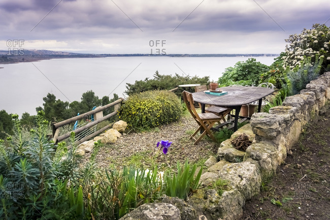 Terrace with a view over the etang de l'Ayrolle in winter in Bages. Located in The Regional Natural Park of Narbonne