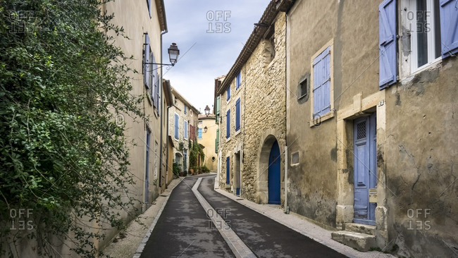 February 17, 2020: Village alley in Peyriac de Mer in winter, France