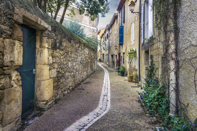 Village alley in Peyriac de Mer in winter. The municipality is located in The Regional Natural Park of Narbonne