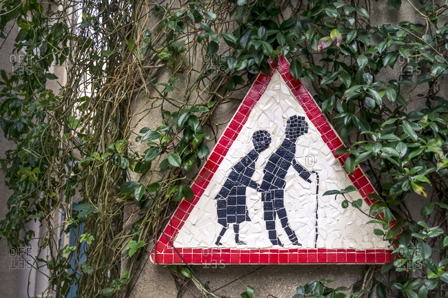 """Road sign """"Beware of the elderly"""" in Peyriac de Mer. The municipality is located in The Regional Natural Park of Narbonne"""