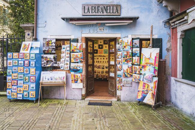 February 3, 2020: Burano, Venice, Island, Veneto, Italy, Northern Italy, colorful fishermen's houses, business, Europe