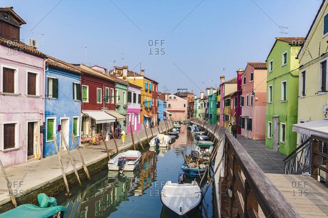 February 3, 2020: Burano, Venice, Island, Veneto, Italy, Northern Italy, colorful fishermen's houses, Europe