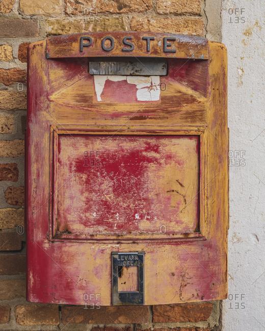 Old Italian post box Burano, Venice, Island, Veneto, Italy, Northern Italy, Europe