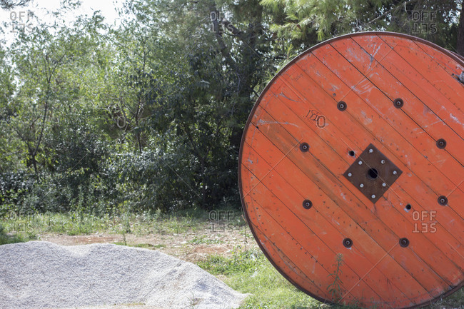 September 19, 2019: Huge cable drum made of wood
