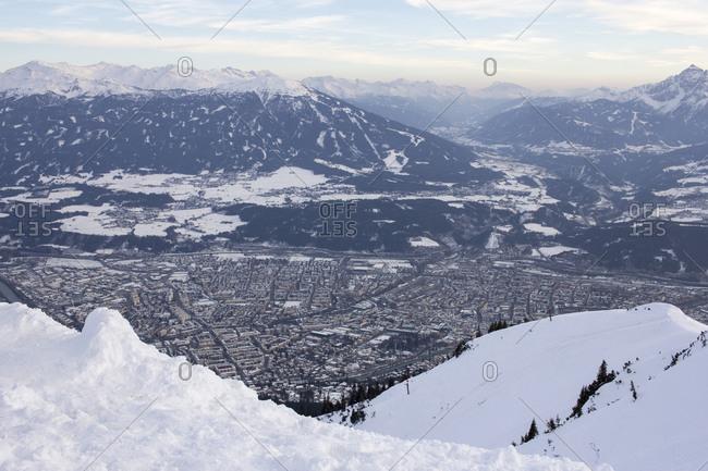 Snowy mountain landscape in Austria
