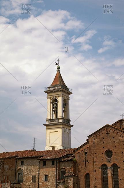 Church, tower, house, Prato, Tuscany, Italy