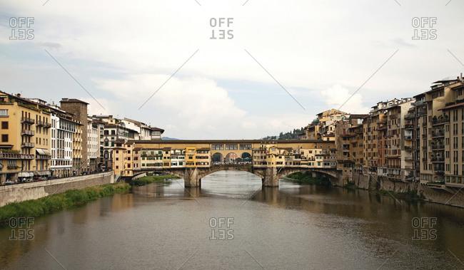 Bridge houses on the Ponte Vecchio bridge, Florence, Tuscany, Italy, city