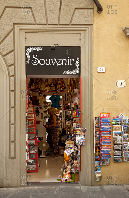 June 13, 2015: Souvenir, entrance, shop, Florence, Tuscany, Italy