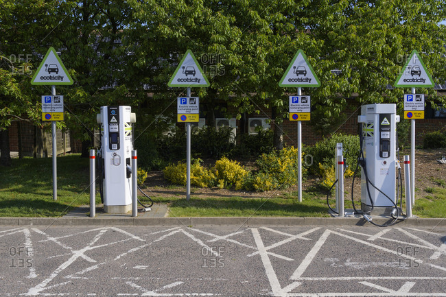 May 20, 2018: Electric vehicle recharging point at motorway rest area, South East England, England, United Kingdom, Europe