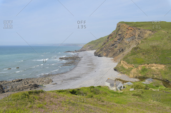 Coast with house in summer, Millook Haven, Bude, Cornwall, South West England, England, United Kingdom, Europe