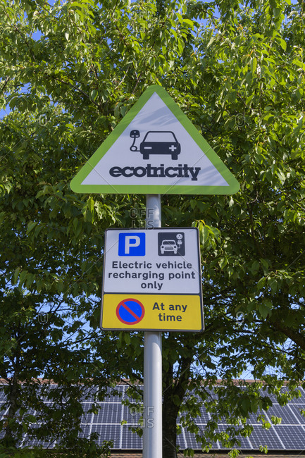 May 20, 2018: Electric vehicle recharging point sign at motorway rest area, South East England, England, United Kingdom, Europe