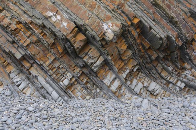 Rocks on the pebble beach, Sandymouth Bay Beach, Bude, Cornwall, South West England, England, United Kingdom, Europe