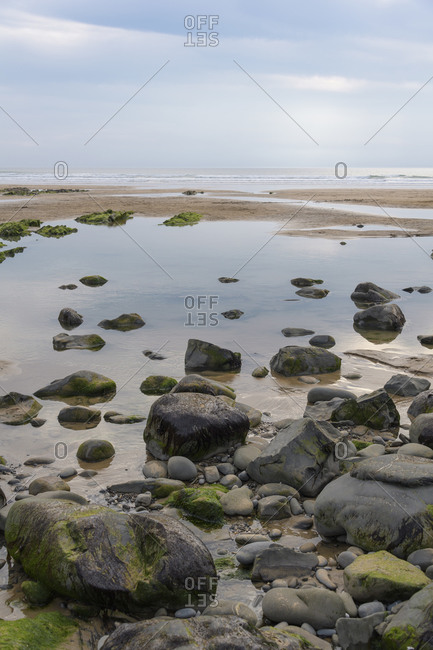 Beach in summer, Sandymouth Bay Beach, Bude, Cornwall, South West England, England, United Kingdom, Europe