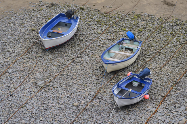 May 30, 2018: Harbor at low tide, Clovelly, Devon, South West England, England, United Kingdom, Europe