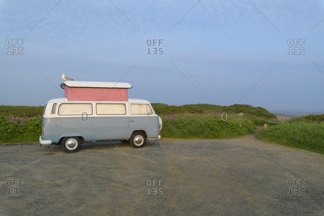 May 26, 2018: Vintage VW Camper with seagull, Cornwall, South West England, England, United Kingdom, Europe