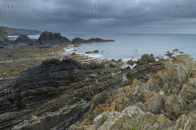 Rocky coast, Hartland Quay, Bideford, North Devon, Devon, South West England, England, United Kingdom, Europe