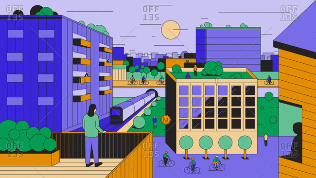 People on roofs and balconies looking out over car-free city
