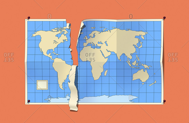 World map tearing separating North America from rest of the world