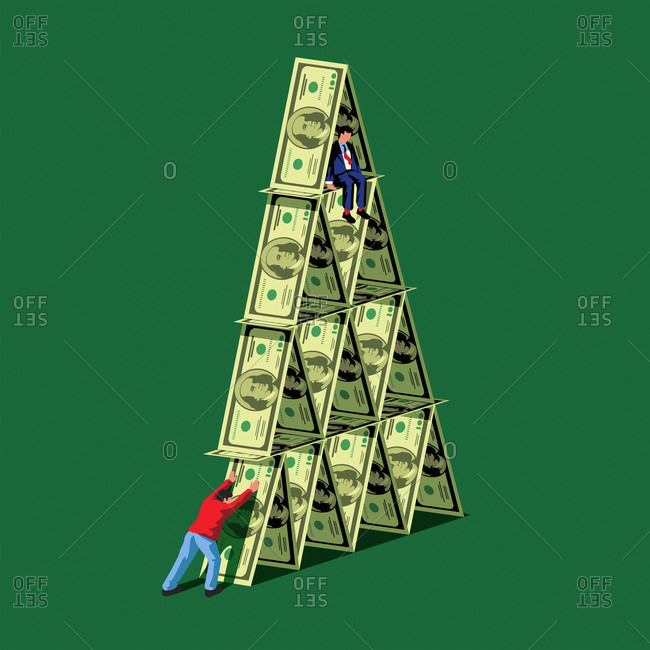Man pushing over dollar house of cards with man sitting on top