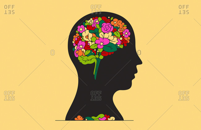 Bunch of flowers inside of man's head