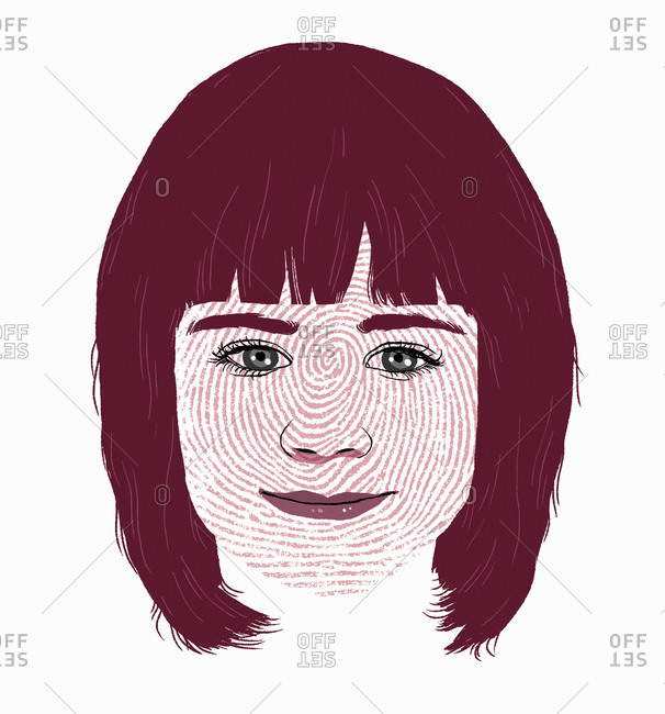 Fingerprint over girl's face identity concept