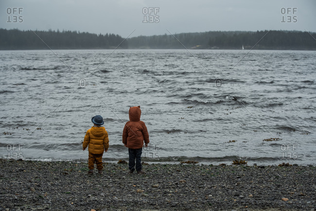 Two young children on rocky beach overlooking waves in stormy weather