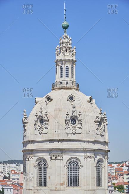 Lapa neighborhood with The Estrela Basilica, Lisbon, Portugal