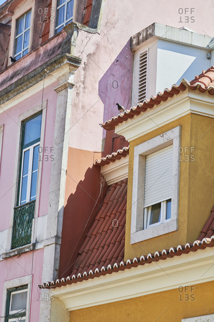 Multicolored facades of apartments in the Gloria neighborhood in Lisbon