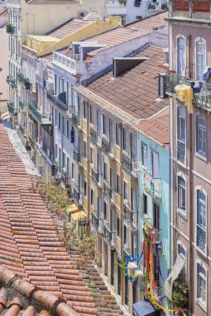 Multicolored apartments in the Gloria neighborhood in Lisbon