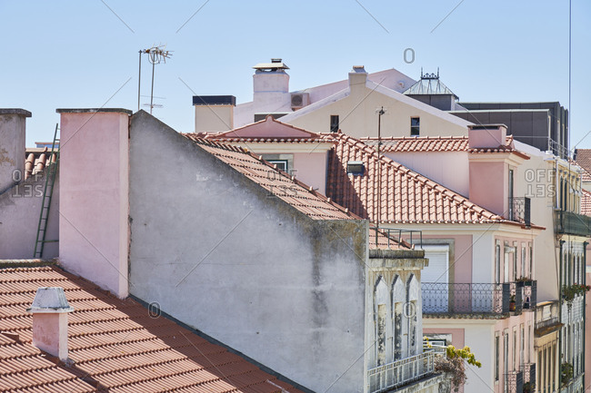 Pastel facades of buildings and windows, Lisbon, Portugal