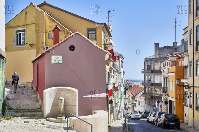 Multicolored facades of apartments in the Principe Real neighborhood in Lisbon