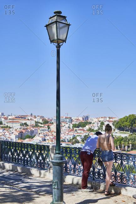 Lisbon cityscape viewed from Miradouro de Saeo Pedro de Alcantara, Portugal