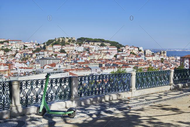 View of the Lisbon cityscape with the Tagus river from Miradouro de Saeo Pedro de Alcantara, Portugal