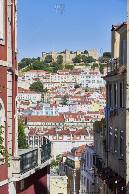 Lisbon cityscape viewed from Calcada do Duque, Portugal
