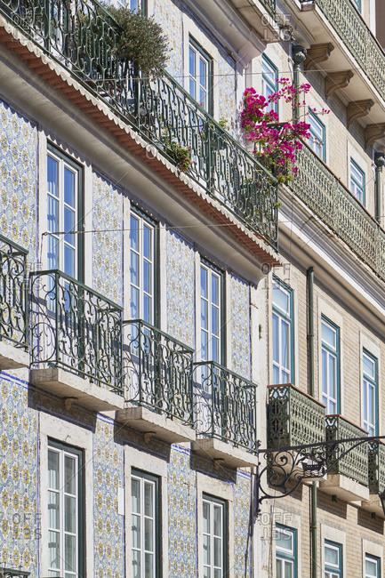 Tiled apartments in the Misericordia neighborhood in Lisbon