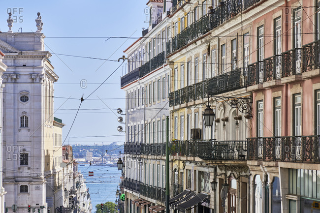 Multicolored facades of apartments in the Misericordia neighborhood in Lisbon