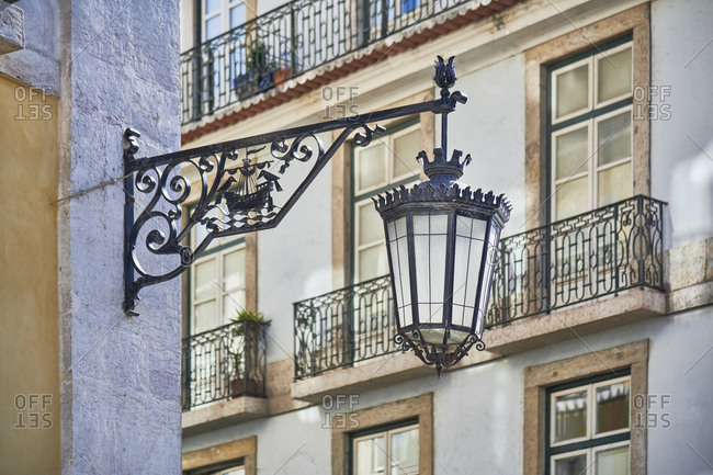 Old-fashioned traditional street Lamp in Lisbon, Portugal