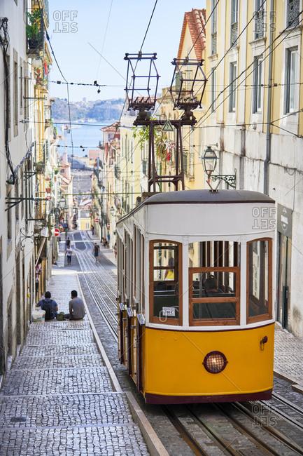 Elevador da Bica railway tram car in the civil parish of Misericordia, Lisbon, Portugal