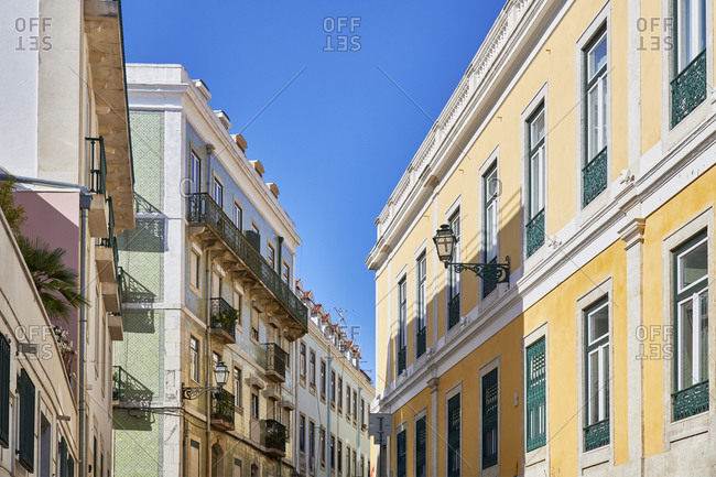 Multicolored facades of apartments in the Santa Catarina neighborhood in Lisbon