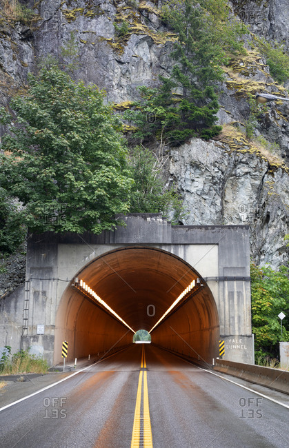 Highway tunnel along the Fraser Canyon roadway, north of Hope, BC, Canada